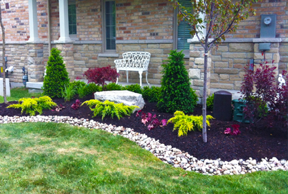 Cheap landscaping ideas pictures front and backyard for Easy garden design ideas