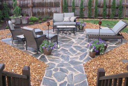 stone patio thoughts with hearth pit